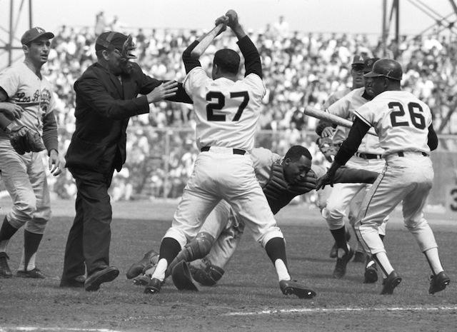 Juan Marichal Hitting Catcher John Roseboro