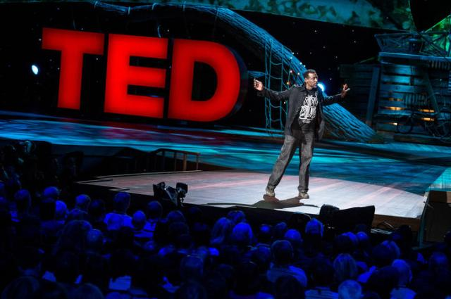 Ron Finley, renegade gardener, on stage at TED2013