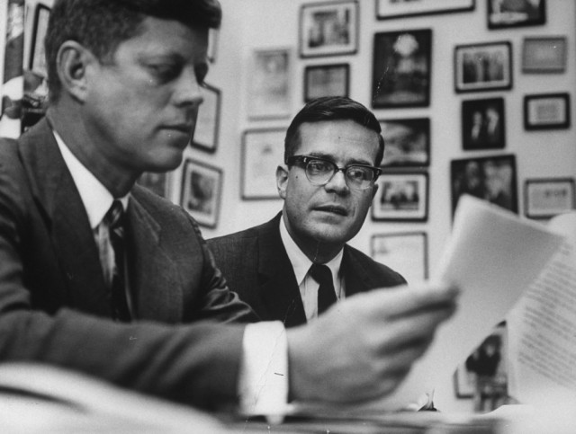 Pres. John F. Kennedy with his Aide Theodore Sorensen (R) discussing W. Virginia's economic problems with President-election. (Photo by Paul Schutzer//Time Life Pictures/Getty Images)