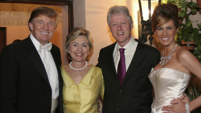 PALM BEACH, FL: Newlyweds Donald Trump Sr. and Melania Trump with Hillary Rodham Clinton and Bill Clinton at their reception held at The Mar-a-Lago Club in January 22, 2005 in Palm Beach, Florida. (Photo by Maring Photography/Getty Images/Contour by Getty Images)